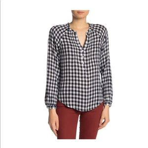 NWOT Lucky Brand gingham check blouse Sz M